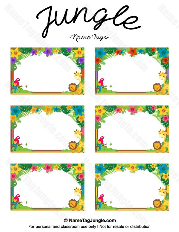 free printable jungle name tags  the template can also be