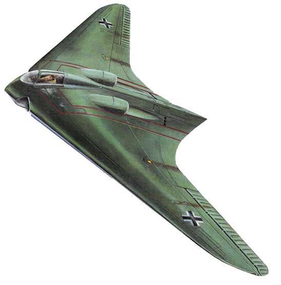 The Horten Ho 229 Flying Wing. The Horten H.IX, RLM designation Ho 229 (often called Gotha Go 229 because of the identity of the chosen manufacturer of the aircraft) was a German prototype fighter/bomber designed by Reimar and Walter Horten and built by Gothaer Waggonfabrik late in World War II. It was the first pure flying wing powered by jet engines. First test flight was March 1, 1944.