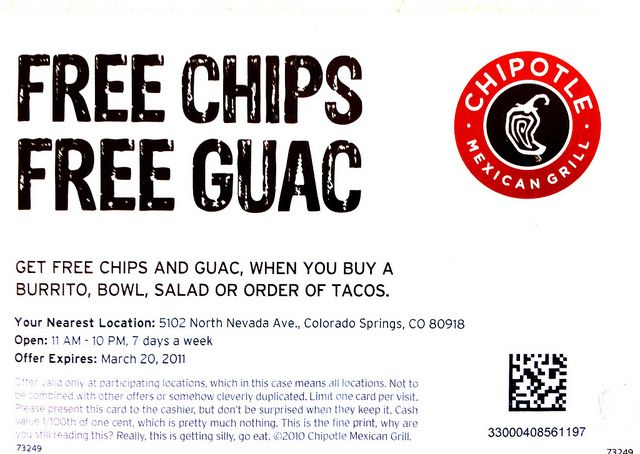 FREE CHIPS FREE GUAC   Chipotle Coupons   Pinterest   Chipotle ...