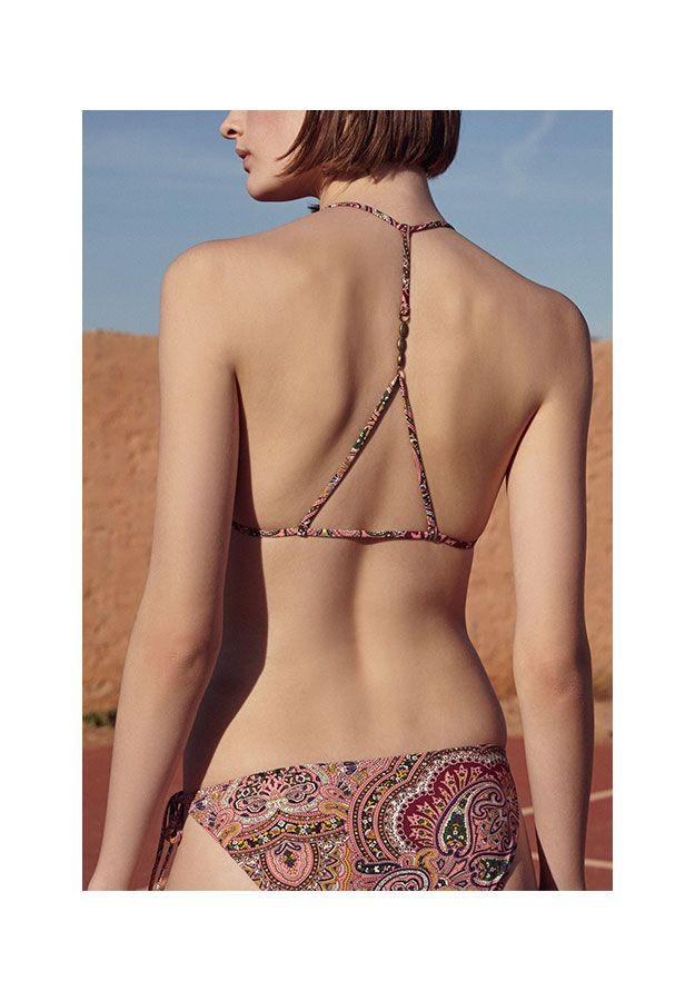 Red paisley triangle bikini top - OYSHO.com