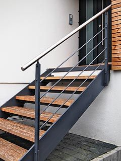 Like the style but we wouldn't use wooden treads. Open to suggestions re tread material. Thinking about concrete, stone or some kind of wood composite / polymer??