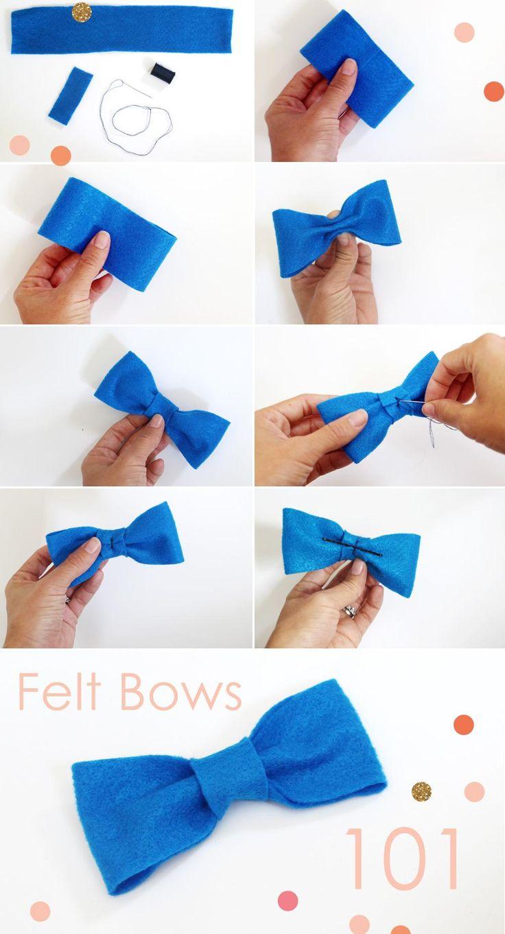 DIY Hair Bows : DIY Felt Bows and Bow Ties