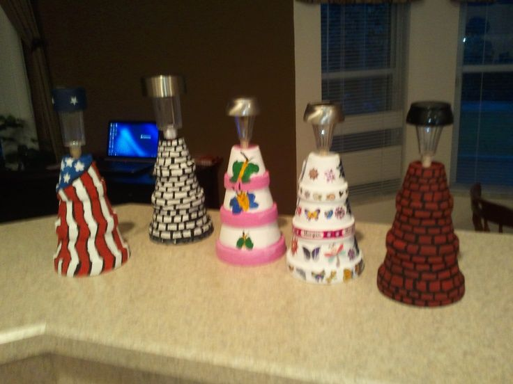 Clay Pot Lighthouse On Pinterest | Mini Clay Pot Lighthouses | Flowers and wreaths