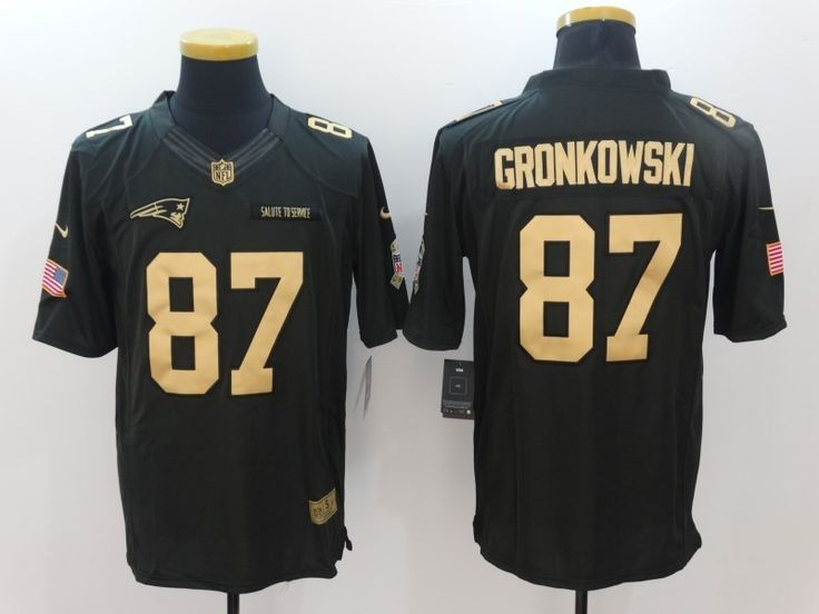 New England Patriots 87 Rob Gronkowski 2016 Christmas Gold Salute to Service Rugby Jersey