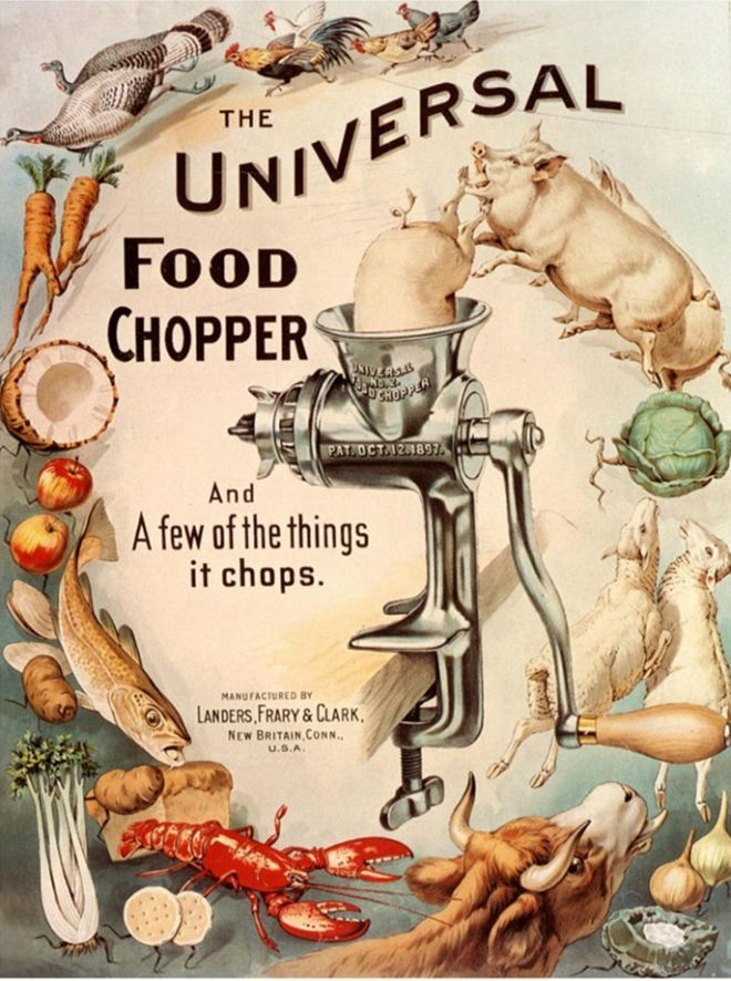 The food chopper, 1898.  Things with Brains happily making their way to the chopper. Bizzaro.