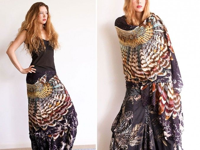 Love these scarves!  Artist Creates Beautiful Handmade Scarves With Bird Wing Motifs | http://www.123inspiration.com/artist-creates-beautiful-handmade-scarves-with-bird-wing-motifs/
