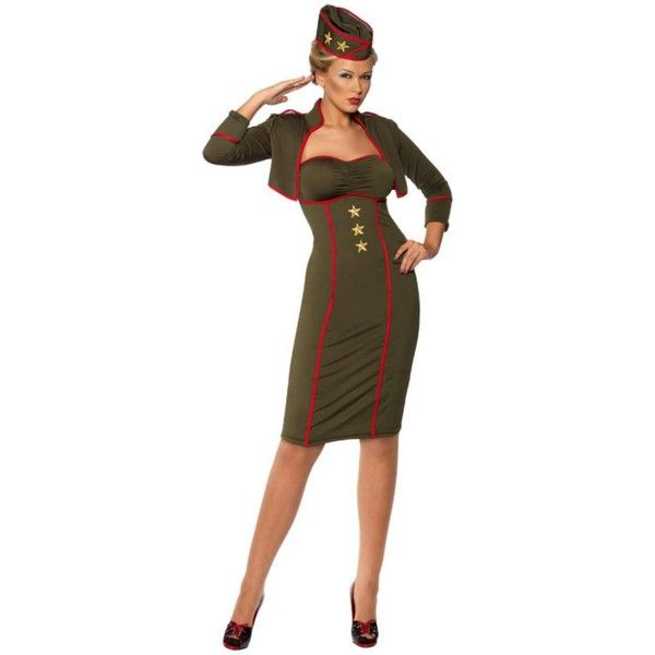 retro army girl adult costume large 45 liked on polyvore featuring costumes - Soldier Girl Halloween Costume
