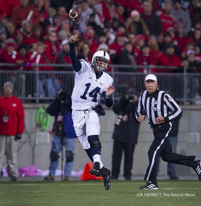 PENN STATE – FOOTBALL 2013 – Penn State vs Ohio State on October 26, 2013. Penn State quarterback Christian Hackenberg throws the ball during the first quarter at Ohio Stadium. Joe Hermitt, PennLive.com