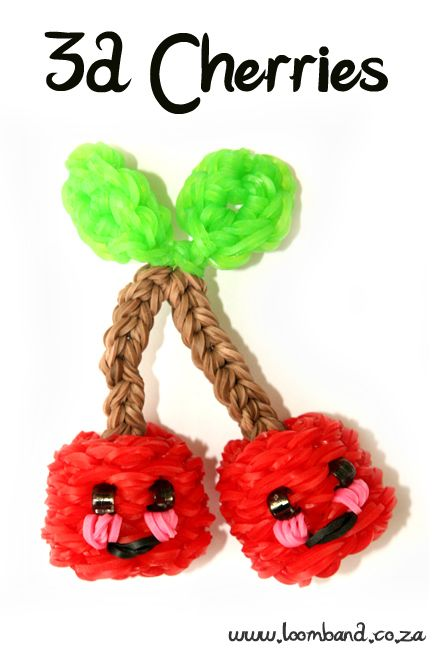 3D Happy Cherries loom band tutorial http://loomband.co.za/slip-twist-loom-band-bracelet-tutorial/