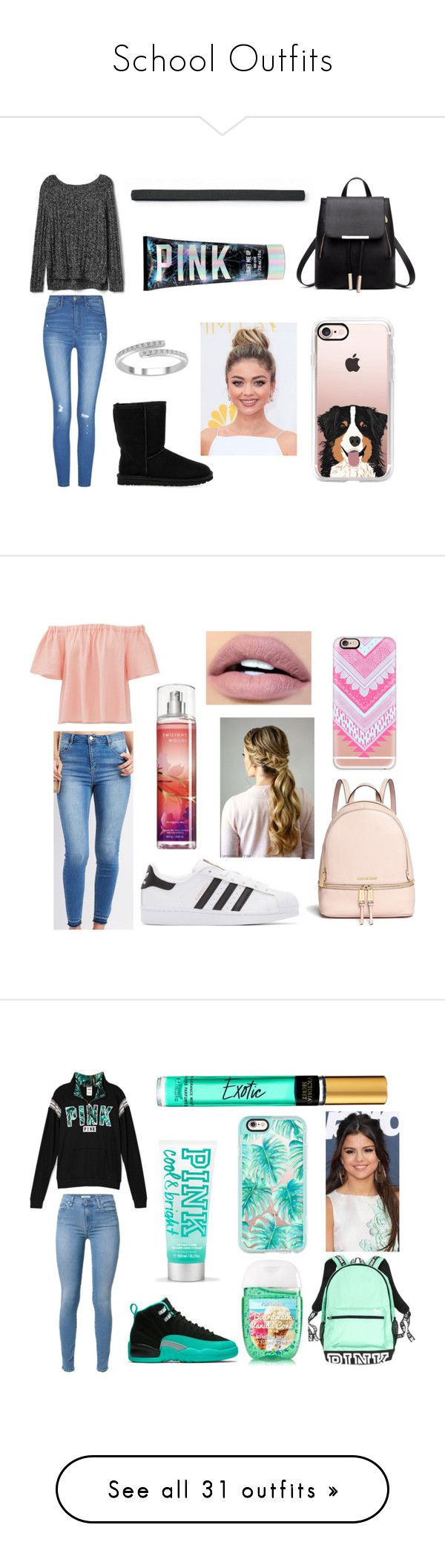 """""""School Outfits"""" by basketballislife11 ❤ liked on Polyvore featuring Gap, UGG Australia, Casetify, SO, Victoria's Secret, Rebecca Taylor, Refuge, Michael Kors, adidas Originals and ColourPop"""