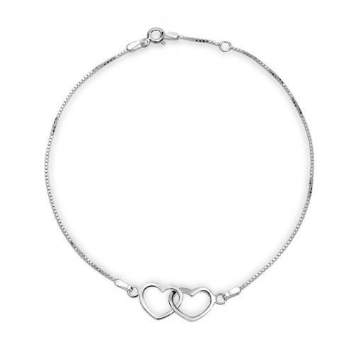 Open Interlocking Hearts Anklet 925 Sterling Silver 10in