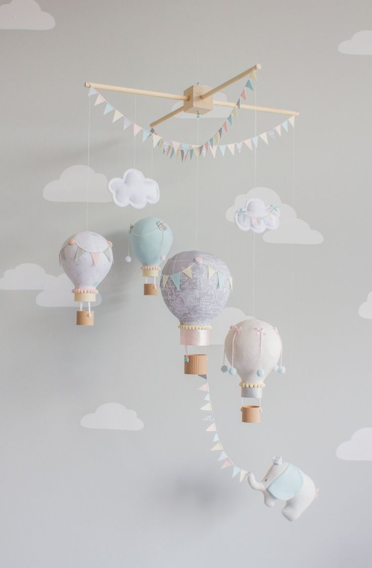 Heißluftballon Baby Mobile, Elefant Kinderzimmer Dekor, Reise-Thema Kinderzimmer Ideen