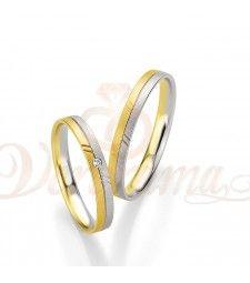 Βέρες γάμου δίχρωμες με διαμάντι Breuning 4211-4212