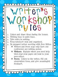 Free ideas- Blog Post- RULES FOR WRITER'S WORKSHOP!  Designed by Rockin Resources