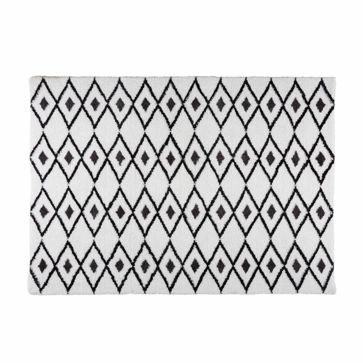 Black and White Berber Rug 140 x 200 cm