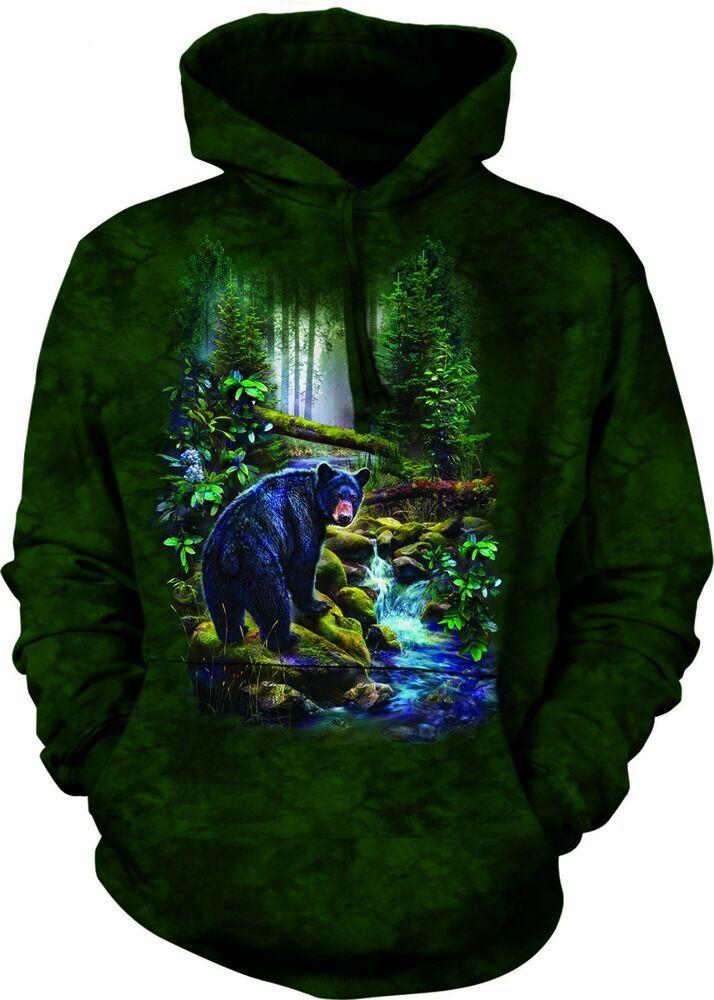 Black Bear Forest Stream The Mountain Pullover Hoodie Sweatshirt Jacket S-2XL
