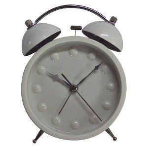 Double Bell Alarm Clock - White
