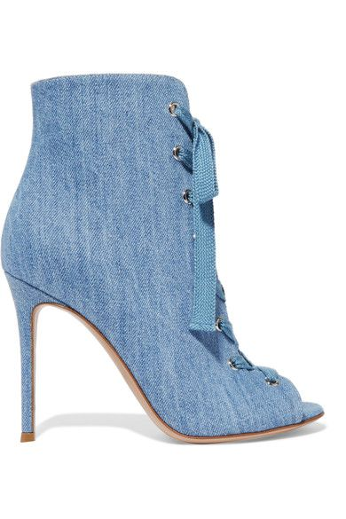 Heel measures approximately 100mm/ 4 inches Light-blue denim Lace-up front Designer color: Stonewash Made in Italy