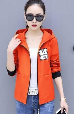 Casual jacket women spring autumn Harajuku style wild hooded short jacket black red orange cardigan clothes BS5728 orange 4XL