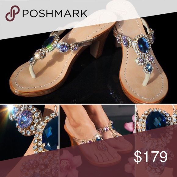 Gorgeous Jewelry Shoes CORINTH RAINBOW Jeweled with Real top quality Bohemian Swarovski style crystals from European Company called Preciosa and Mother of Pearl and Coral from Indian Ocean, own hired divers and own cutters. Only highest grade natural leather. Each pair is created by master shoemakers by hand that takes somewhere around 8 to 12 hours of work Fantastic golden gift box (collapsible) with metal corners and real organza sack.  PLEASE ORDER ONE SIZE UP, ESPECIALLY FROM US WOMEN'S…
