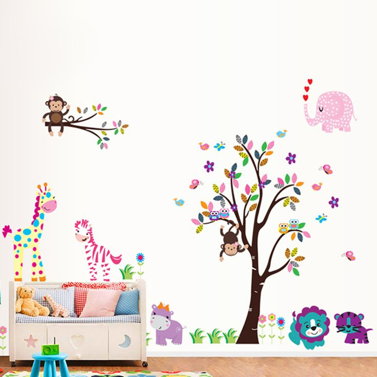 >> Click to Buy << cartoon monkey giraffe lion tiger tree wall decals kids bedroom decoration home stickers animal safari mural art peel and stick #Affiliate