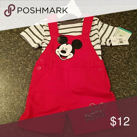 Mickey Mouse jumper set 2 piece set comes with short sleeve t-shirt and adjustable jumper shorts Disney Matching Sets