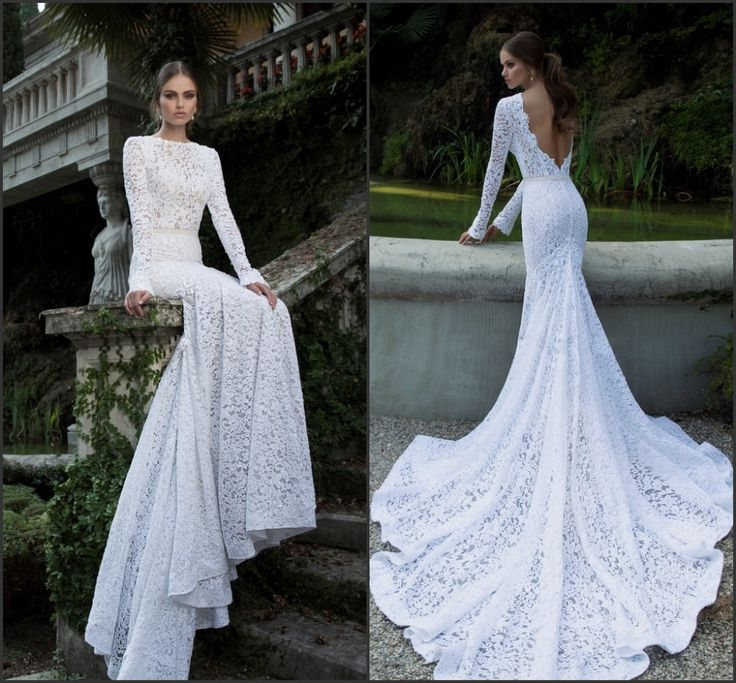 The back is so pretty 2014 Berta Vintage Lace Wedding Dresses Bateau Deep V Open Back Long Sleeve Charpel Train Pearls Fitted Mermaid Bridal Gown-in Wedding Dres...