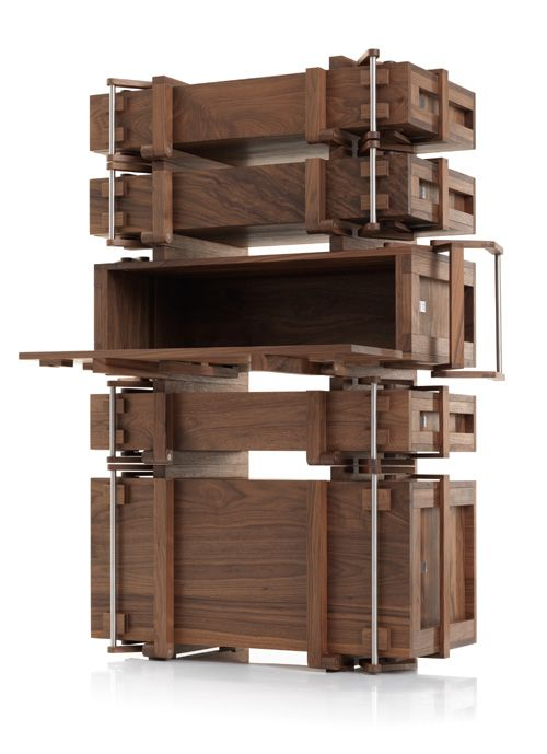 """Wouter Scheublin """"Cabinet of Chests""""...The cabinet of chests transforms 5 chests into a cabinet.  Each lid in turn serves as a shelf or even a writing desk."""