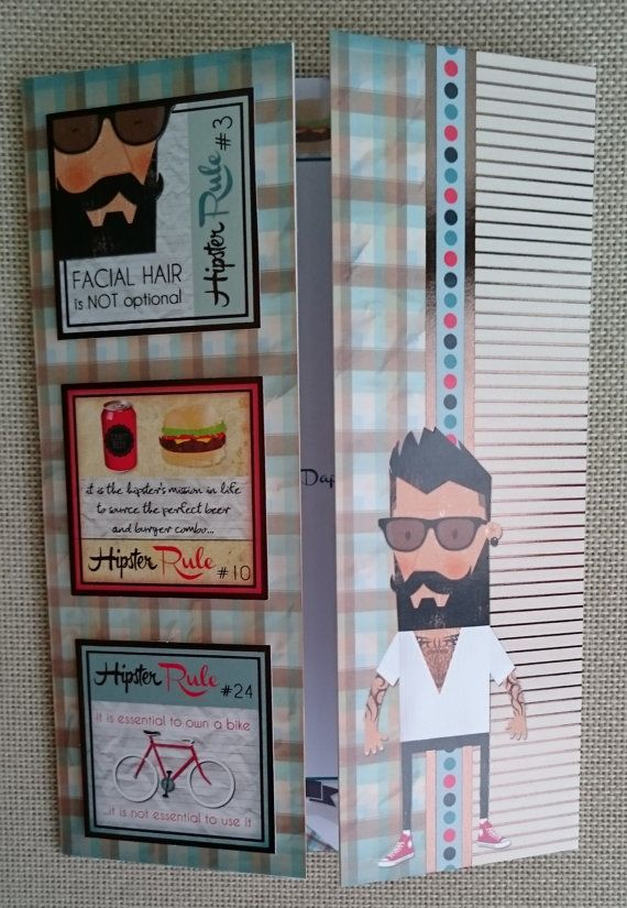 Handmade C5 Gatefold Greeting Card  Hipster Birthday by BavsCrafts