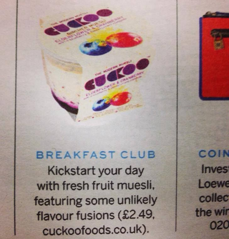Great end to the day seeing Cuckoo in Stylist Magazine!