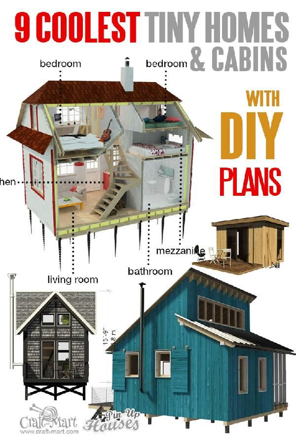 Tiny House Plans And Cabins Prefabs Kits Diy Plans Craft Mart Tiny House Loft Micro House Plans Tiny House Floor Plans