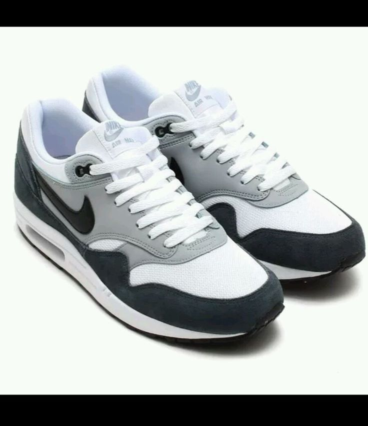 NIKE AIR MAX 1 ESSENTIAL WHTE/BLK-LT MGNT GRY-DK 537383-