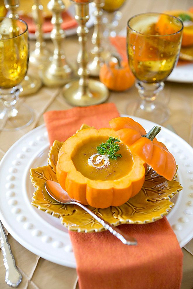 Wow your guests with this delicious pumpkin bisque served in an easy-to-make pumpkin shell for a fall dinner party!