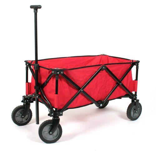 Praktischer Faltbarer Bollerwagen Deluxe in rot mit verstärktem Boden - max. Belastung 70 Kg