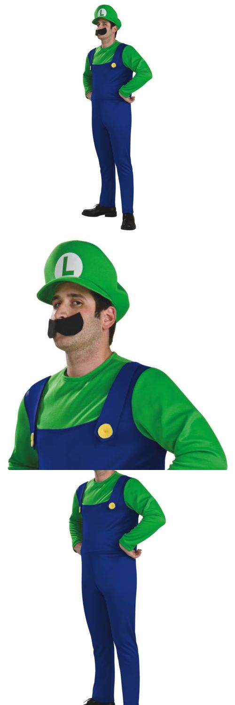Men Costumes: Luigi Costume Adult Mens Super Mario Brothers Bros Halloween Fancy Dress -> BUY IT NOW ONLY: $33.79 on eBay!