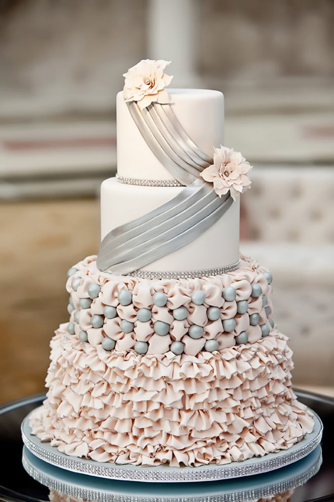 Silver + blush ruffled cake ~ Photographer: Vue Photography  // Cake: For Goodness Cakes