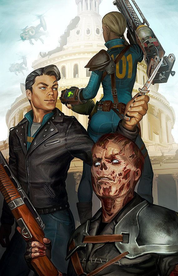 Fallout 3 Lone Wanderer with Butch Deloria and Charon Open Edition Art Print 11x17 inch