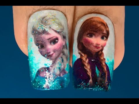 Frozen Nail Art - Elsa and Anna