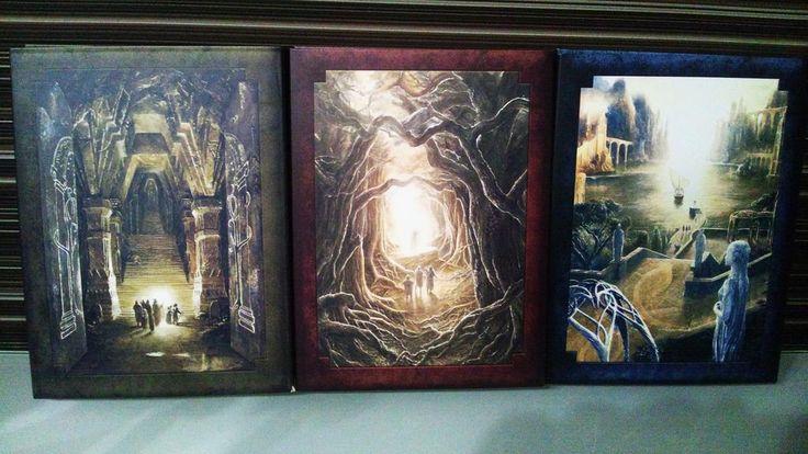 @takumitoxin 外箱を開けると中にはアラン・リー大先生の美しい挿絵が 第一部はモリアの坑道 第二部はファンゴルンの森 第三部は灰色港 素晴らしい