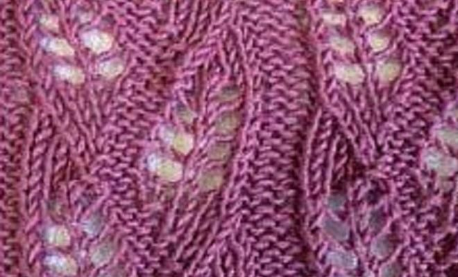 Knitting With Eyelet Lace Patterns : Hot to knit wheat knitting pattern; an eyelet knitting pattern. Background is...