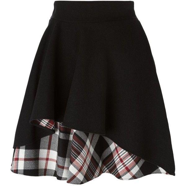 Alexander McQueen Ruffled a-Line Skirt ($538) ❤ liked on Polyvore featuring skirts, bottoms, alexander mcqueen, gonne, black, plaid skirt, frill skirt, a line plaid skirt, tartan plaid skirt and frilly skirts