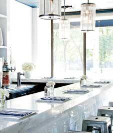 Restaurant interior: Frankies Diner Blue and white!