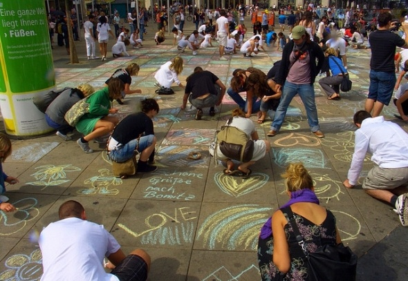 chalk art flash mob
