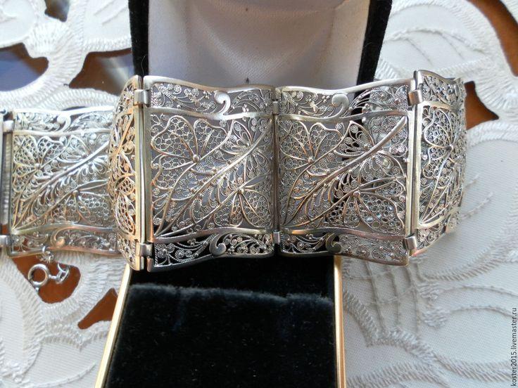 Купить Старинный браслет Серебро Филигрань - серебряный, филигрань, филигрань серебро, Браслет ручной работы