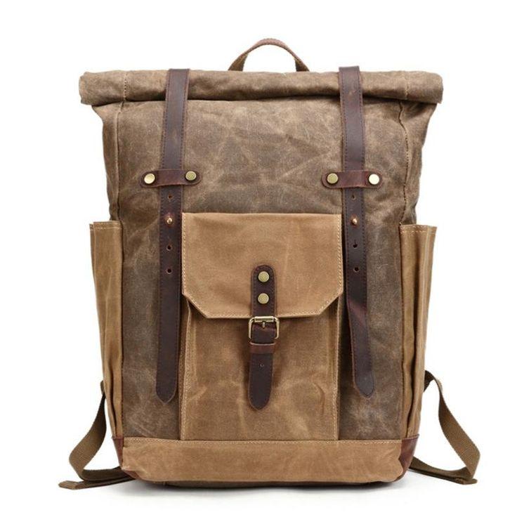 Waxed Canvas Backpack Rucksack Travel Backpack 8808