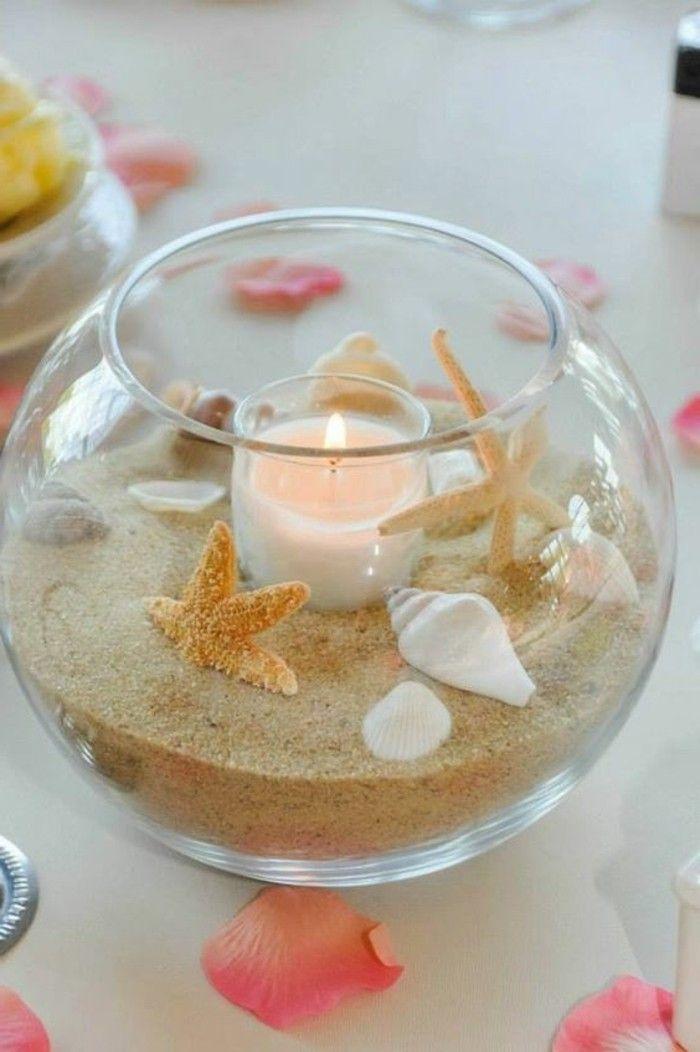 que faire avec des coquillages, décoration de table, ambiance douce et romantique