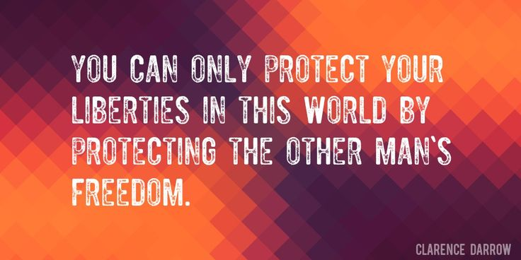 Quote by Clarence Darrow => You can only protect your liberties in this world by protecting the other man's freedom.