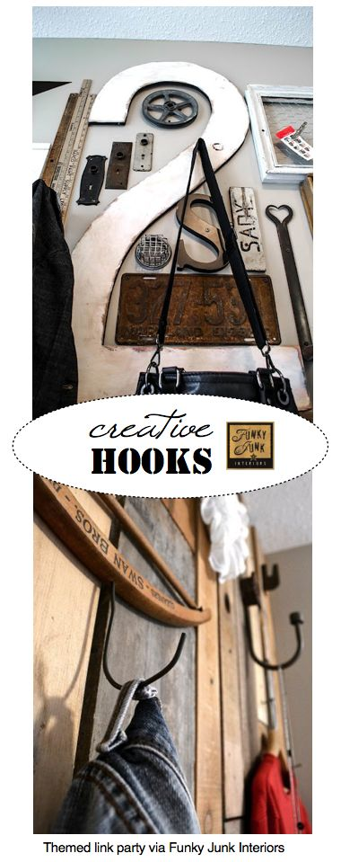 CREATIVE HOOKS - a themed link party that's always open, via Funky Junk Interiors. Add yours too!