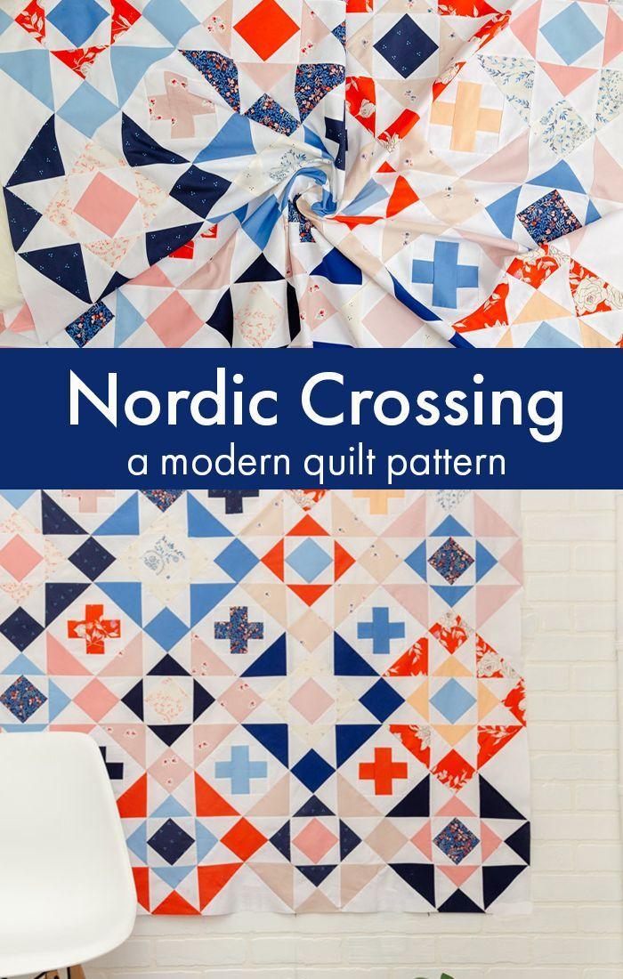 Sew The Nordic Crossing Modern Quilt Pattern It Is The Perfect Modern Star Quilt Pattern That Co Modern Quilt Patterns Beginner Quilt Patterns Quilt Patterns
