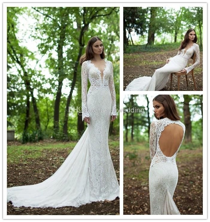Gorgeous Mermaid Wedding Gowns Vintage V Neck Lace